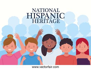 national hispanic heritage celebration with people characters in white background