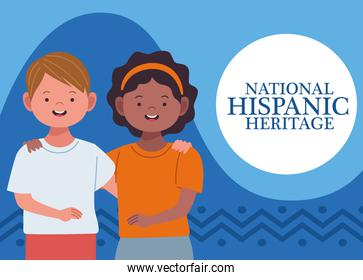 national hispanic heritage celebration with interracial couple and lettering