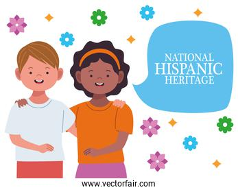 national hispanic heritage celebration with interracial couple and speech bubble