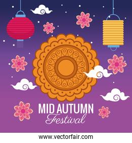 mid autumn festival celebration with lace decorative and flowers