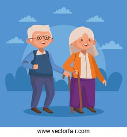 old couple walking with cane active seniors characters