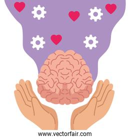 mental health day with hands lifting human brain and gears