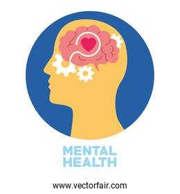 mental health day human profile and gears with heart in brain