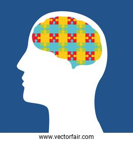 mental health day human profile and puzzle game pieces