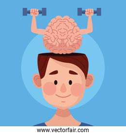 mental health day man with brain lifting dumbbells
