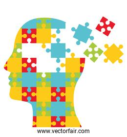 mental health day human profile with puzzle pieces
