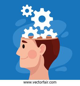 mental health day man profile and gears machinery