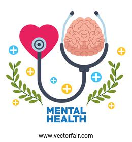 mental health day human brain with heart and stethoscope
