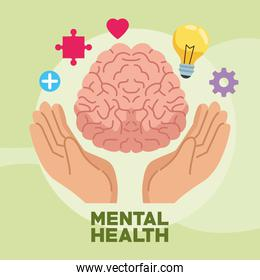 mental health day with hands protecting human brain and set items