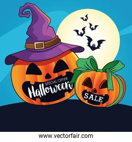 halloween sale seasonal poster with pumpkins wearing witch hat and bats flying