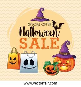 halloween sale seasonal poster with pumpkins wearing witch hat and shopping bags lettering