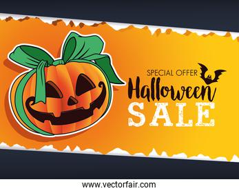 halloween sale seasonal poster with pumpkin and ribbon