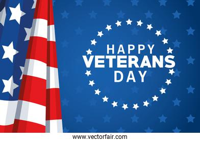 happy veterans day lettering with usa flag and stars seal