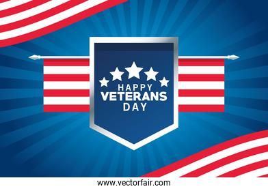 happy veterans day card with usa flag in shield