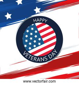 happy veterans day lettering in button with usa flag background