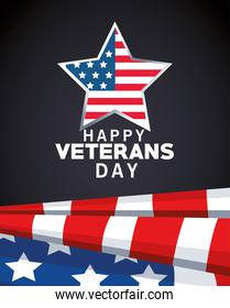happy veterans day lettering with usa flag in star black background