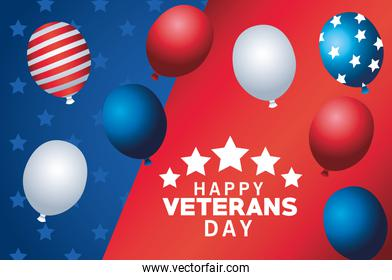 happy veterans day lettering with balloons helium