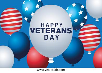 happy veterans day lettering with balloons helium floating