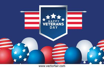 happy veterans day lettering with usa flag in shield and balloons helium