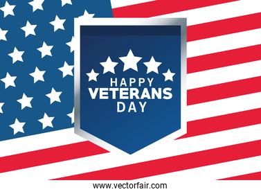 happy veterans day lettering with usa flag in shield and background