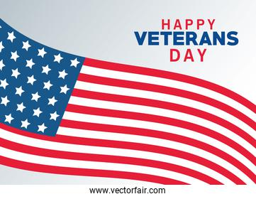 happy veterans day lettering with usa flag