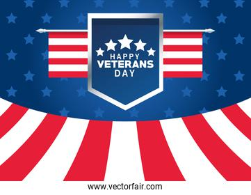 happy veterans day lettering with usa flag in shield poster