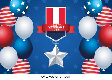 happy veterans day lettering with usa flag medal and balloons helium