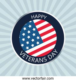 happy veterans day lettering button in gray background