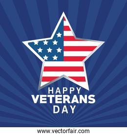 happy veterans day lettering with usa flag in star blue color background