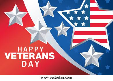 happy veterans day lettering with usa flag in star and colors background