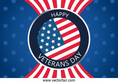 happy veterans day lettering in button with stars background