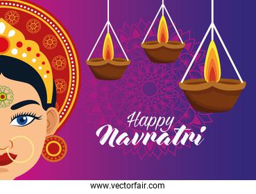 happy navratri celebration card with beautiful goddess and candles