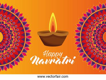 happy navratri celebration card with candle and mandalas