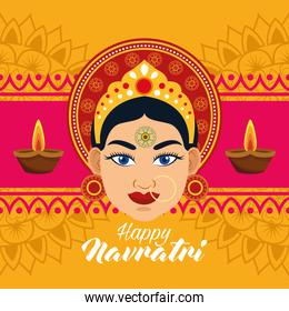 happy navratri celebration card with beautiful goddess and candles frame