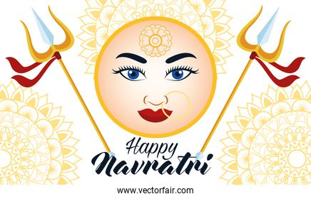happy navratri celebration card with beautiful goddess face and tridents