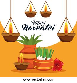 happy navratri celebration card with houseplants and candles