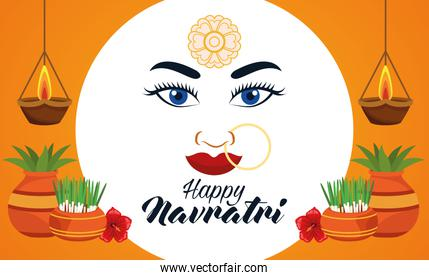 happy navratri celebration card with beautiful goddess face and houseplants