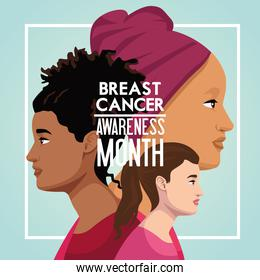 breast cancer awareness month campaign poster with interracial girls