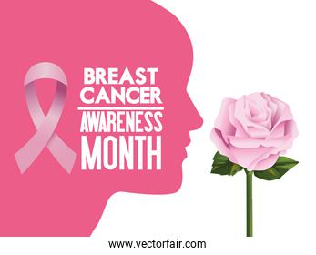 breast cancer awareness month campaign poster with ribbon pink and woman profile