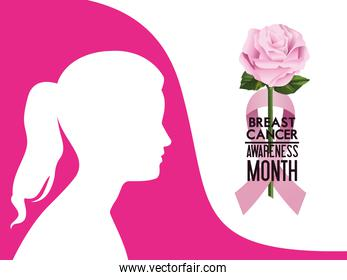 breast cancer awareness month campaign poster with ribbon pink and woman profile silhouette