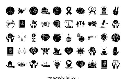 bundle of fifty human rights silhouette style set icons