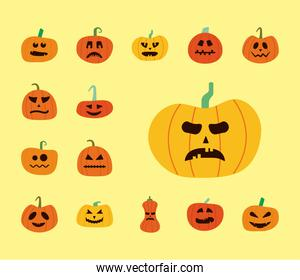 bundle of halloween pumpkins in yellow background flat style icons