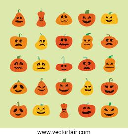 bundle of halloween pumpkins in green background flat style icons