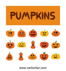 bundle of halloween pumpkins in white background flat style icons