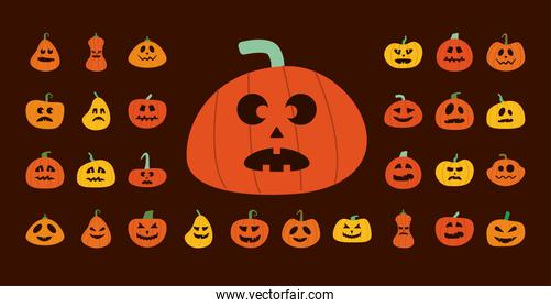 bundle of halloween pumpkins in brown background flat style icons