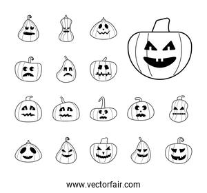 bundle of halloween pumpkins in white background line style icons