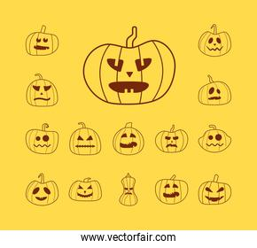 bundle of halloween pumpkins in yellow background line style icons