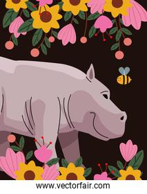 wild hippopotamus animal with flowers nature icon