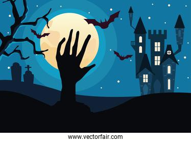 halloween dark haunted castle with death hand and bats flying