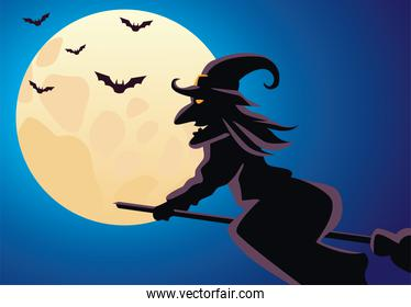 witch flying in broom and bats flying in moon